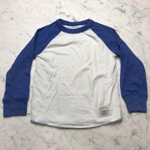 Gap Kids Blue White Long Sleeve Baseball T-Shirt